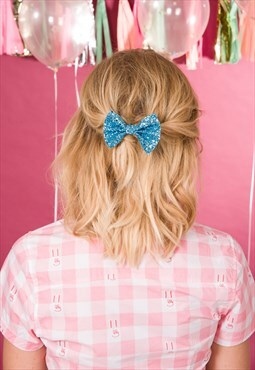 Blue Hair Bow, Glitter Hair Bow, Bow Hair Clip