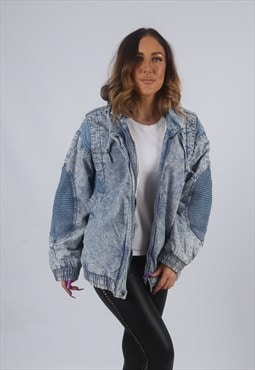 Vintage Denim Bomber Jacket Oversized ACID WASH UK 14 (KBG)