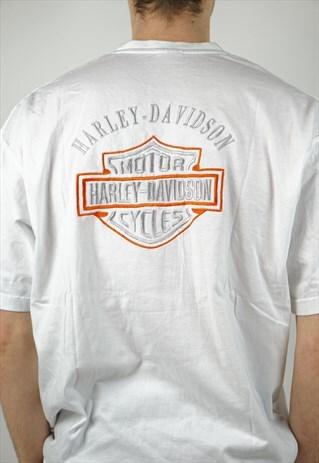 VINTAGE HARLEY-DAVIDSON WHITE PRINT T-SHIRT
