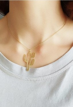 Gold Cactus Sterling Silver Necklace