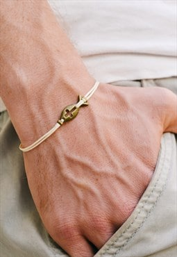 Fish cross bracelet for men bronze fish and beige cord gift