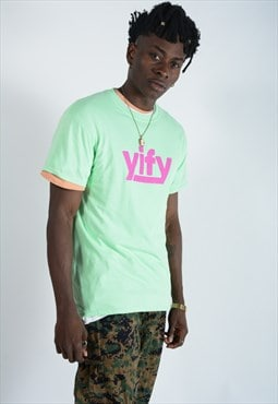 YIFY T-shirt in mint with pink logo.