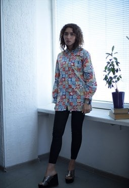 Vintage 80's Multi Colour Long Sleeved Shirt