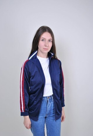 BLUE TRACK JACKET, 90S WINDBREAKER, STRIPERD SHELL JACKET