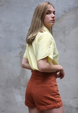 Vintage 90's High Waist Denim Shirts Brick Orange