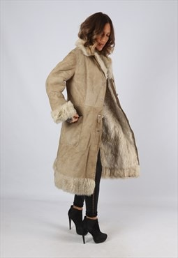 Sheepskin Suede Leather Shearling Coat UK 12 Medium (LJ3H)
