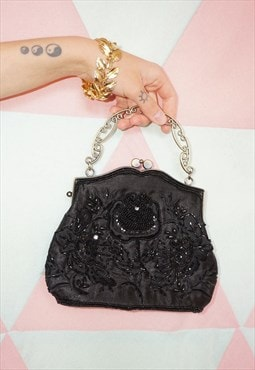 Vintage 60s Black Beaded Sequin Hand Bag