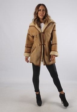 Vintage Sheepskin Suede Shearling Coat Short UK S 10 (K93B)