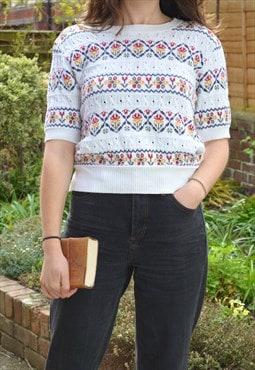 80s Vintage St Michael White Pattern Knit T Shirt Jumper