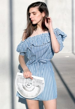 Ruffled Mesh Dress in Stripe