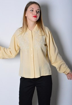Vintage 90s Pastel Yellow Flower Blouse
