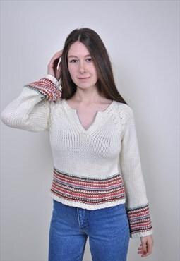 Vintage women knit blouse, 90s native print sweater