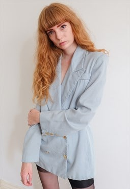 Vintage Revival 70s Baby Blue Double Breasted Wool Blazer