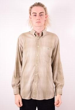 Lacoste Mens Vintage Shirt Large Khaki Check 90s