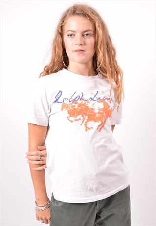 VINTAGE POLO RALPH LAUREN T-SHIRT TOP OVERSIZED WHITE