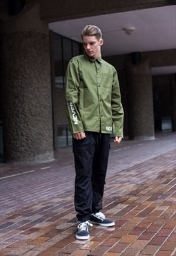 Demos Army green Never Give In cotton twill shirt