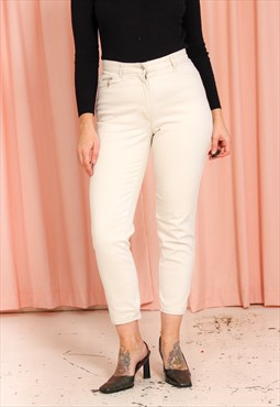 Vintage 90s High Waisted Mom Jeans in Cream