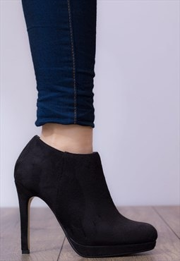 TO THE MAX High Heel Stiletto Ankle Shoes -Black Suede Style