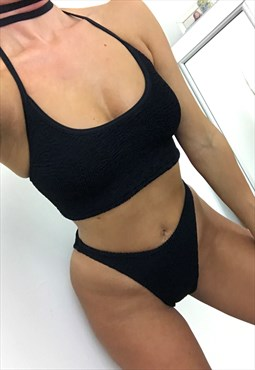 High Cut Halter Crop Bikini Set in Black Crinkle