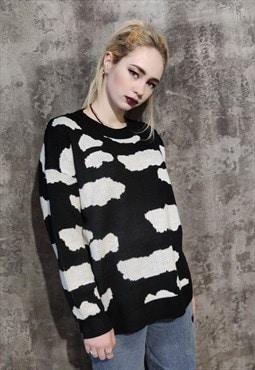 cloud knitwear sweater sky space knit jumper in back white