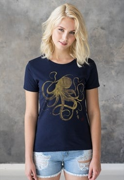 Japanese Art Octopus T Shirt Calligraphy Printed Tee Women