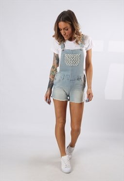 Denim Dungaree Shorts Vintage UK 8 - 10  (J5DM)