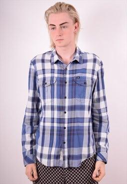 Lee Mens Vintage Flannel Shirt Large Blue Check 90s