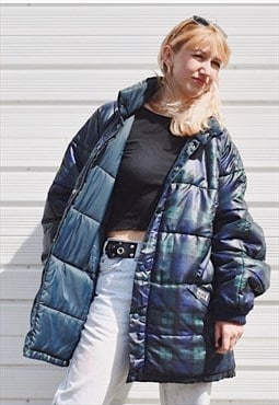 Vintage Puffa Jacket Check Puffer Coat Oversized 90s