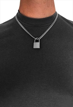 "30"" Padlock Pendant 6mm Necklace Chain - Silver"