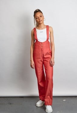 Vintage 70's Red wide leg dungaree's