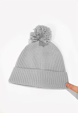 Ski Bobble Knitted Ribbed Beanie Hat - Silver Grey