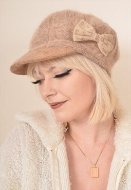 Vintage Hat Fluffy Knitted Cap Hat in Dusky Pink with Bow