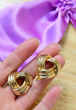 Vintage 1990's gold chunky statement earrings