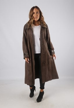Vintage Sheepskin Leather Shearling Coat Long UK 16 XL (C9AU