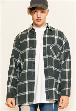 Vintage 90s Grey Plaid Shirt