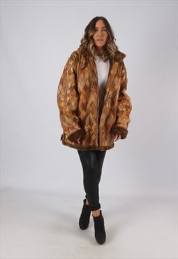 Patchwork Leather Faux Sheepskin Hooded Coat UK 18 (KDJ)