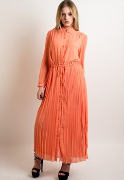 Full length pleated long shirt dress Wedding in orange