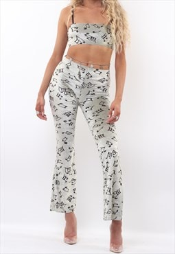Cami Crop Top & Flares Co-ord in Music Note Velvet