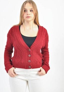 Vintage knitwear cardigan in maroon