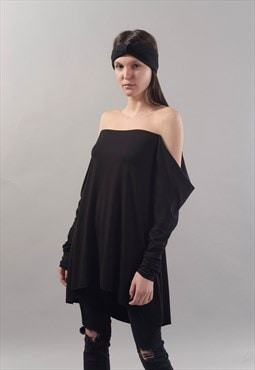 Open Shoulder top Black Maxi shirt Cotton Blouse Loose F1808