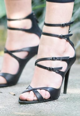 Strappy Leather Black Sandals
