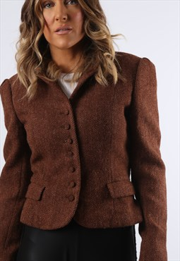 Blazer Jacket Fitted Tweed Wool Cropped UK 8 (E84K)