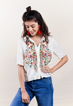 Cream Embroidered Shirt
