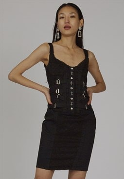 Rare vintage 90's Dolce & Gabbana black corset dress
