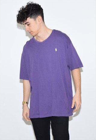 VINTAGE 90S PURPLE RALPH LAUREN V NECK T SHIRT