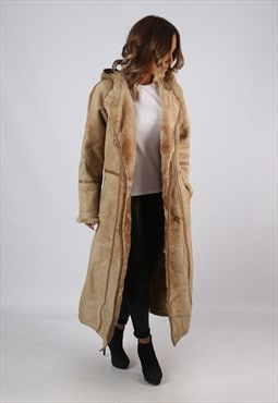 Sheepskin Suede Leather Shearling Hooded Coat UK 12  (KJBD)