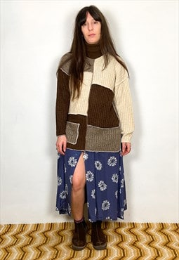 Vintage 90's Patchwork Brown Roll Neck Jumper