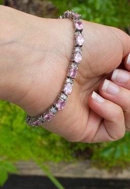 Vintage Pink & Silver Faux Diamond Bracelet