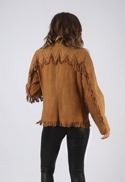 Suede Leather Tassel Fringe Jacket Vintage 70's UK 10 (CW2A)