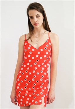 Daisy Summer Mini Dress-Red